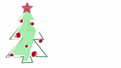Christmas tree child's drawing style and empty space 4k (4096x2304) Stock Footage