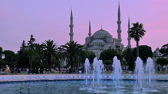 Istanbul blue mosque at the sunset dusk Stock Footage