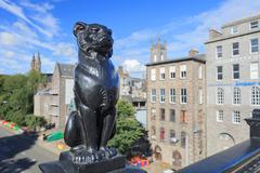 Kelly's Cats (cast iron leopard) in Aberdeen city - stock photo