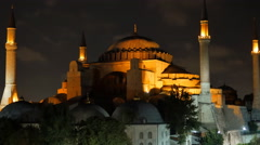 istanbul hagia sophia mosque illuminated at night - stock footage