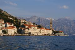 View of the old Perast town, Montenegro - stock photo