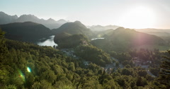 Time lapse of Hohenschwangau Castle and Alpsee at sunset Stock Footage