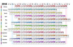 White linear calendar 2016 - stock illustration