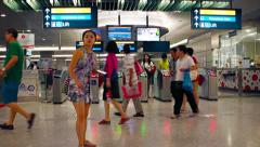 MRT commuter train station at Marina Bay in Singapore. Stock Footage