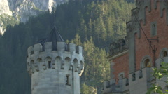 Stair tower and one of Neuschwanstein Castle's exterior wall Stock Footage