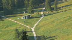 Crossroad in rural landscape in Schwangau region Stock Footage