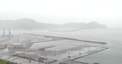 Stormy Weather Looms Over Port Complex Stock Footage