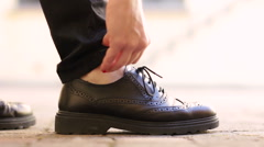Female hipster woman with dark shoes making turn ups and walking away Stock Footage
