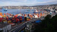 Stock Video Footage of Port of Valparaiso Timelapse 4K