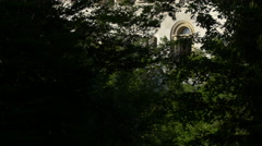 Neuschwanstein Castle seen from the trees of the forest near it Stock Footage