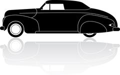 Vintage convertible coupe silhouette vector icon - stock illustration