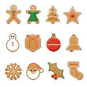 Gingerbread cookie vector icon set - stock illustration