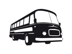Vintage Bus Silhouette - stock illustration
