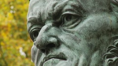 Bayreuth Opera House - Wagner - statue bust in gardens 2 close Stock Footage