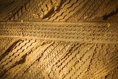 Stock Photo of Tire's tracks print in Sand