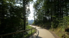 Walking on an alley in mountains forest, near Hoheschwangau Stock Footage