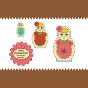 nested doll - stock illustration