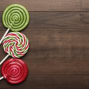 Three colorful lollipops Stock Photos