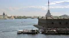 View of the Neva from the bastion of the Peter and Paul Fortress Stock Footage