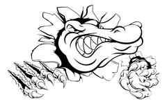 Crocodile or alligator smashing through wall Stock Illustration