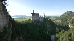 Amazing view of Neuschwanstein Castle seen from Marienbrücke Stock Footage