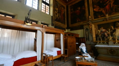 Interior of the Hotel Dieu in the Beaune, Burgundy, France. Stock Footage