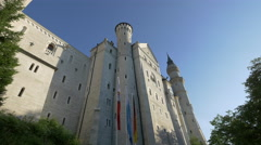 From outside the gates, looking up at Neuschwanstein Castle Stock Footage