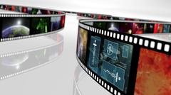 Film reel with science fiction based concepts Stock Illustration