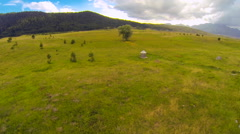Aerial view of a green pastures and expanses on the mountain Stock Footage