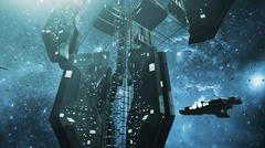 Impressive space station and a scifi spaceship Stock Illustration