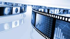 Film reels with stock market concepts Stock Illustration
