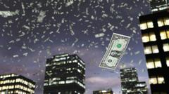 Paper dollar money falls from the sky Stock Illustration