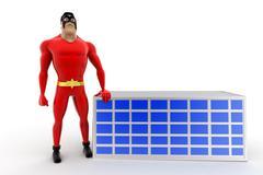 3d superhero presenting solar panel concept Stock Illustration