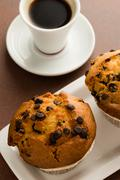 muffins and coffe - stock photo