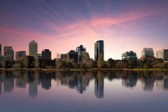 Shot of Melbourne from Albert Park Lake at Sunset Stock Photos