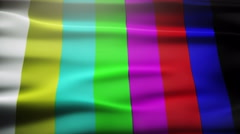 Analog TV signal with bad interference, static, and color bars Stock Footage