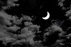 Stock Photo of Nice moon and star in night sky with clouds
