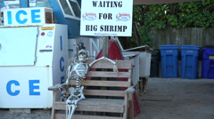 A humorous display shows a skeleton waiting for big shrimp. Stock Footage