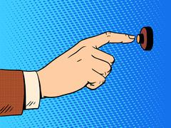 Hand presses call button view profile Stock Illustration