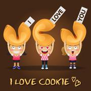 happy people carrying big fortune cookies - stock illustration
