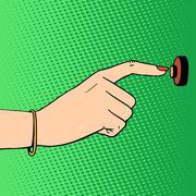 doorbell woman hand - stock illustration