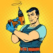 Repair work with a drill - stock illustration