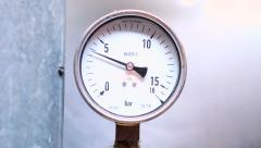 Circular industrial pressure gauges - stock footage