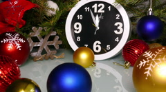 Clock and christmas toys in a red bag, timelapse Stock Footage