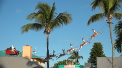Stock Video Footage of Santa in his sleigh amongst palms marks Christmas in Florida or another tropical
