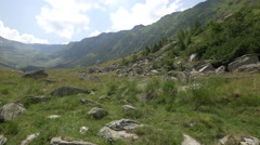 Amazing valley in Fagaras Mountains, Romania Stock Footage