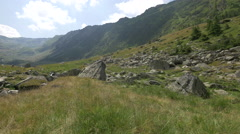 Valley with rocks and river near Transfagarasan Stock Footage