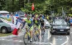 Group of Three Cyclists - Tour de France 2014 Stock Photos