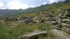 Valley with rocks and green grass near Transfagarasan Stock Footage