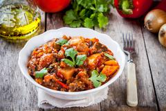 vegetable ragout (ratatouille) paprika, eggplant and tomato - stock photo